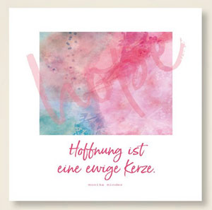 Aquarell hope mit Spruch